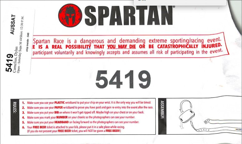 Find Purpose. Spartan Race chip envelope.