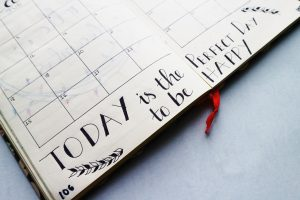 """Inspiring calendar entry with """"Today is the perfect day to be happy"""""""