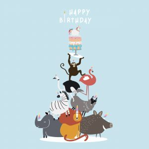 Animal themed birthday postcard vector. Image by rawpixel.com