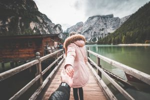 Lovely Couple in Follow Me To Pose on Braies Lake Pier, Italy by Photo by Viktor Hanacek via pic jumbo.com